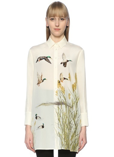 Beymen Club Desenli Uzun Gömlek Beyaz